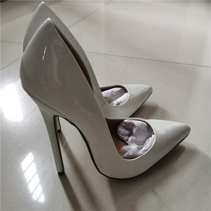 Fashion High Heels Sexy Shoes Women Large Size 43 44 45 Pumps White Stiletto Heel Patent Leather Office Wedding Shoes Hey Si Mey