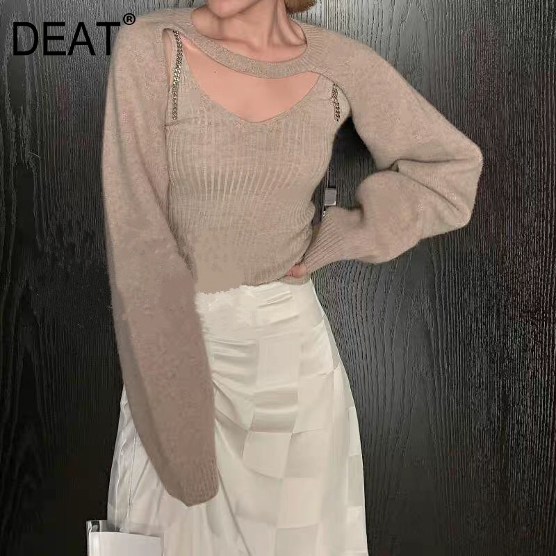 DEAT 2020 New Spring Fashion Women Clothes Strapless Chain V-neck Knits Scarf Full Sleeves Two Pieces WK31401