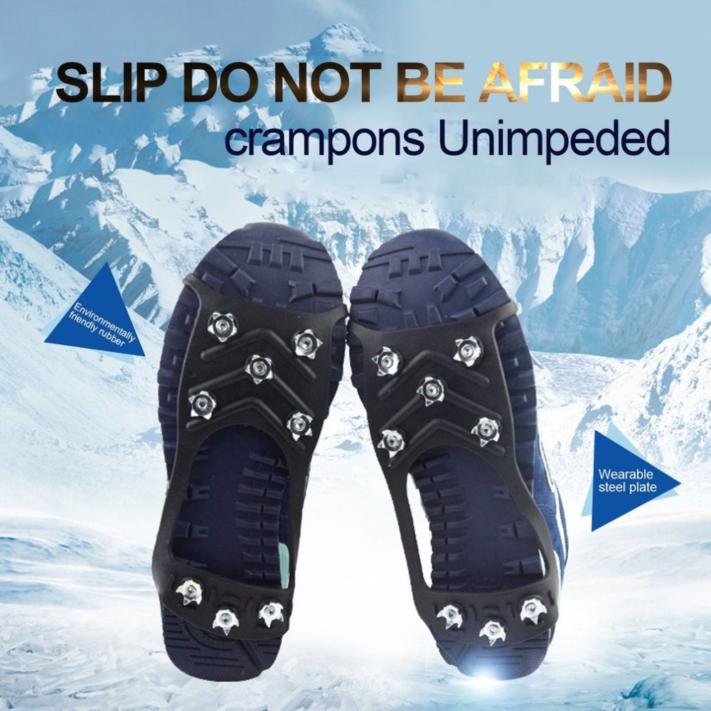 8-Stud Universal Snow Shoe Spikes Grips Cleats Outdoor Ice Crampon Tool Anti-slip Shoes Cover For Winter Climbing Camping