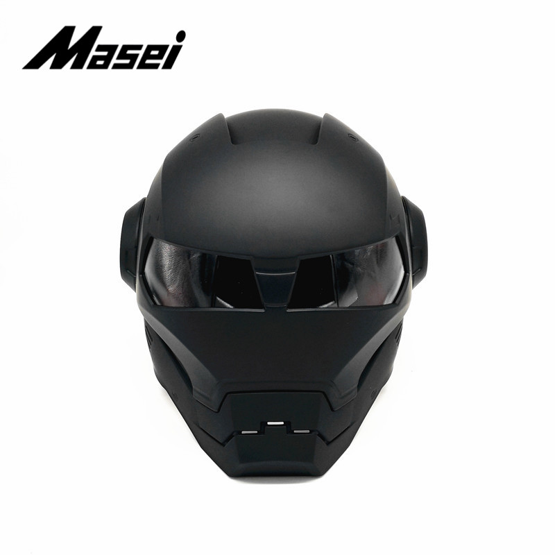 Masei IRONMAN casque moto rcycle casque demi casque visage ouvert casque moto cross accessoires voiture autocollant casco moto noir - 2