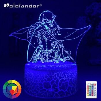 En ataque titanes lámpara LED Levi Ackerman 3D Anime luz De Noche...