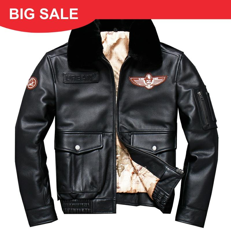 2020 Black Men Pilot Leather Jacket Wool Collar Plus Size XXXL Genuine Cowhide Russian Winter Aviator Leather Coat FREE SHIPPING