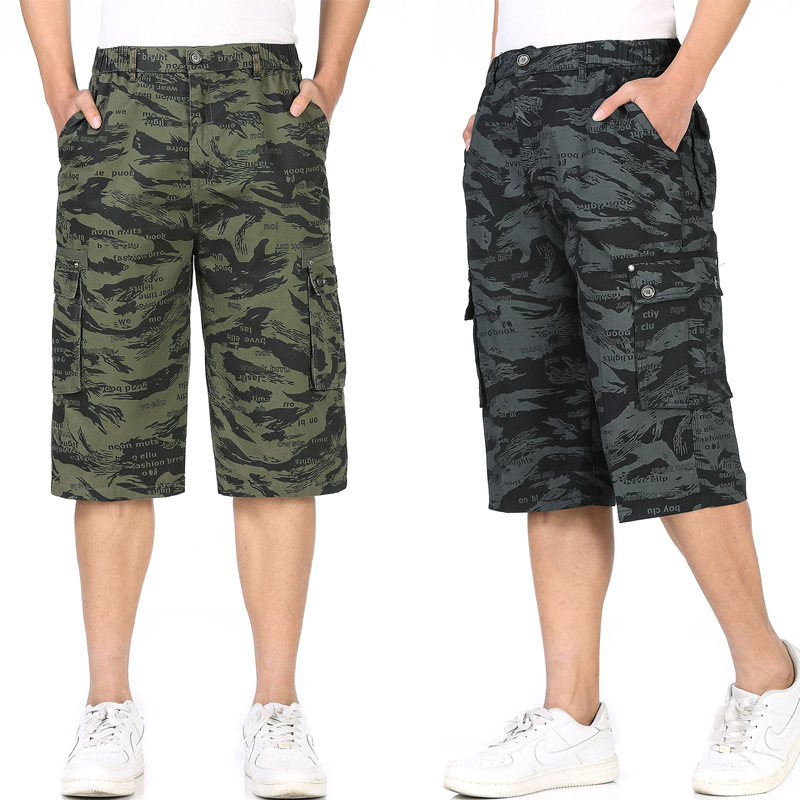 Middle-aged MEN'S Pants Large Size Loose-Fit Workwear Camouflage Casual Pants Dad New Style Capri Pants Summer