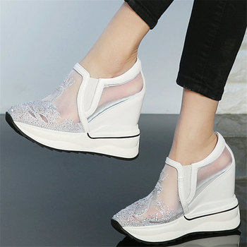 Fashion Sneakers Women Genuine Leather Wedges High Heel Ankle Boots Female Breathable Lace Rhinestones Pumps Shoes Casual Shoes new women sandals for spring summer sexy black hollow mesh high heel pumps breathable comfotable lace up female casual shoes