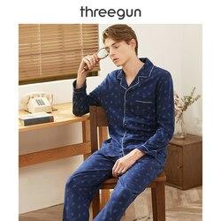 THREEGUN пижамный комплект для мужчин, хлопок, Осень-зима, принты, длинные рукава, брюки, отложной воротник, Мужская домашняя одежда, костюмы, оде...