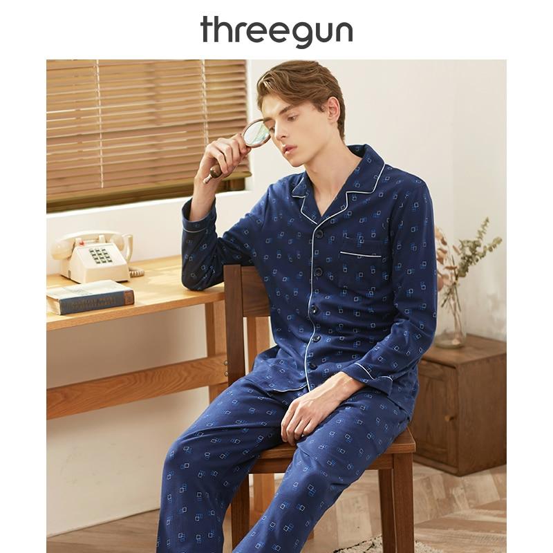 THREEGUN Pajamas Set Men Cotton Autumn Winter Prints Long Sleeves Trousers Turn-Down Collar Men's Home Wear Suits Sleepwear