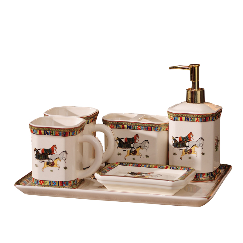 Bathroom Set Ceramic Soap Dispenser Mouthwash Cup Toothbrush Holder Soap Dish Tray Washing Room Set Bathroom Decorations