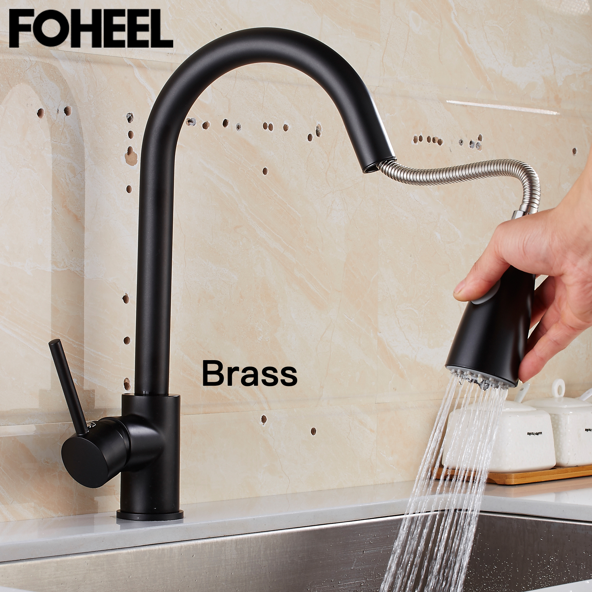 FOHEEL Pull Out Kitchen Black Kitchen Faucets Single Handle Tap Single Hole Handle Swivel 360 Degree Water Mixer Tap Mixer Tap