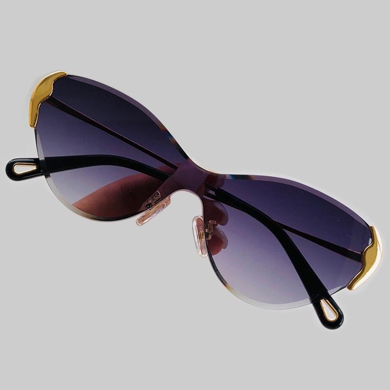 Lunettes de soleil Vintage oeil de chat pour femmes marque concepteur une pièce sans monture lunettes de soleil femme