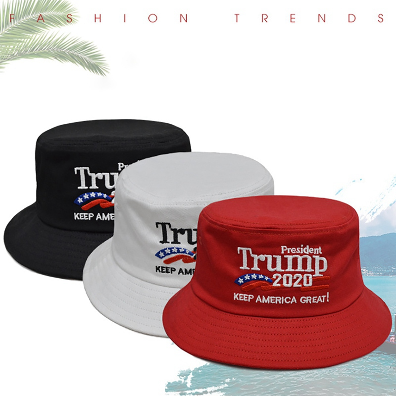 Unisex Outdoor HOT Trump 2019 Keep America Great Again Hat Red White Bucket Hat Printing Fisherman Cap Gorras