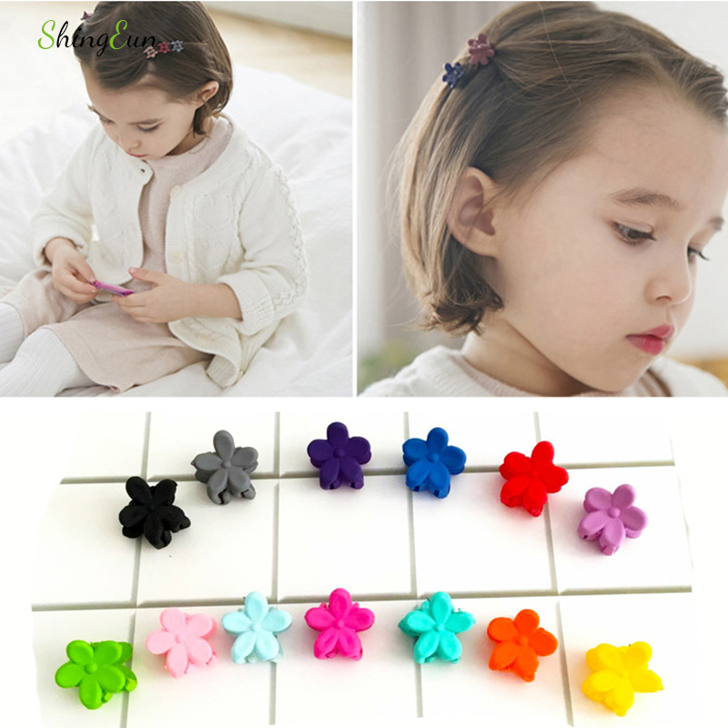 20pcs Color Mix Girl Baby/children Cute Frosted Small Flowers Mini Hairpin Hair Accessories Crab Claw Clip