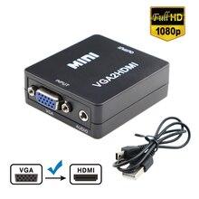 1080P Full HD Mini VGA para HDMI Caixa Adaptador Conversor De Áudio e Vídeo Suporte a HDTV Para PC Portátil Computador de Exibição mac Projetor