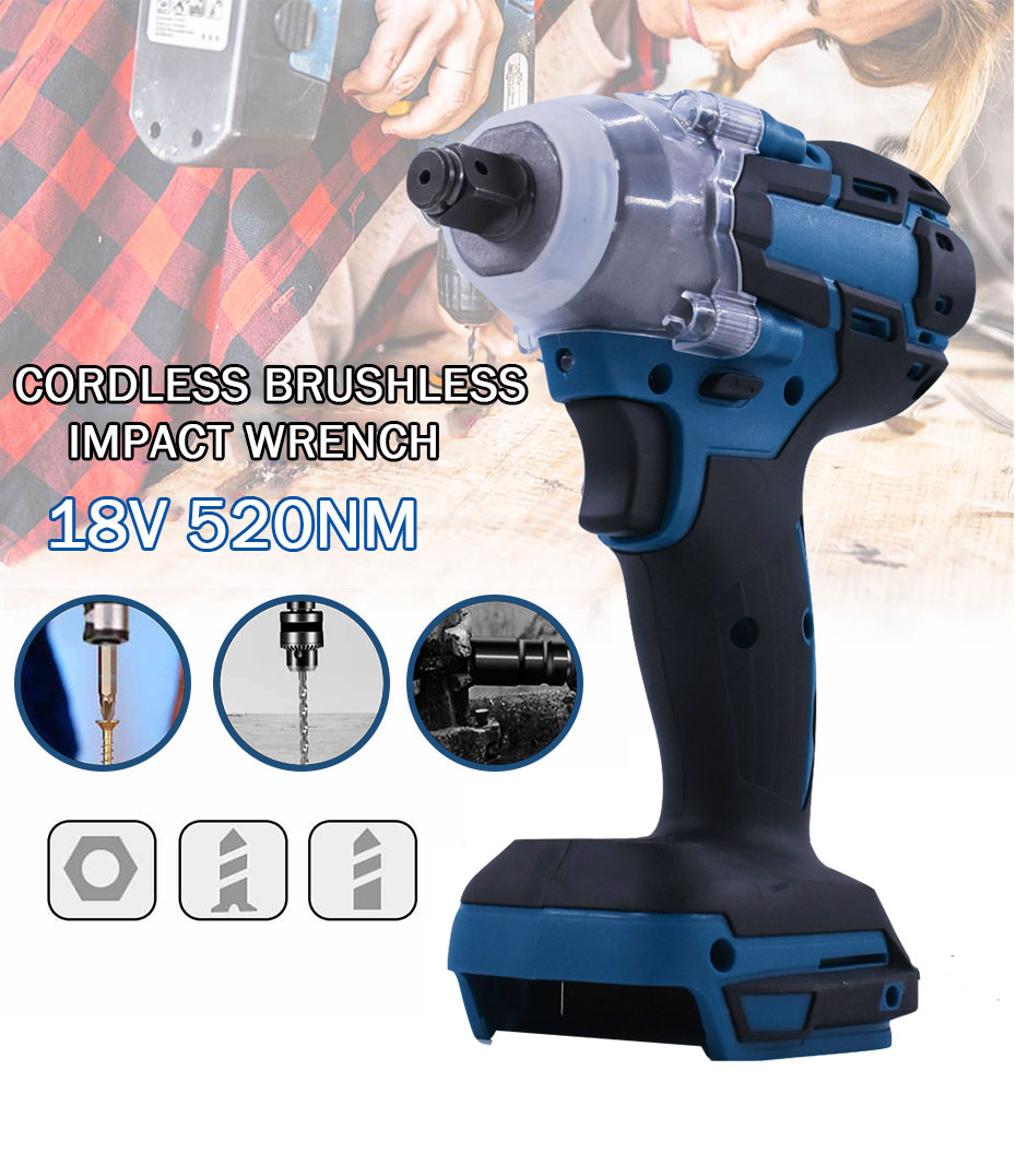 18V Cordless Impact Wrench 520nm Rechargeable Brushless Lithium Battery Woodworking High Torque Wrench Drill Repair Power Tool