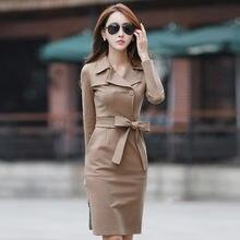 Новое офисное дамское платье с длинным рукавом ветровка Платье