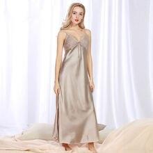Женская ночная рубашка атласная мягкая женская пижама летняя