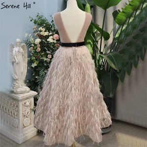 Image 2 - ピンク V ネックのセクシーな羽サッシイブニングドレス 2020 ノースリーブ A ライン足首までの長さドレス穏やかな丘 LA70367