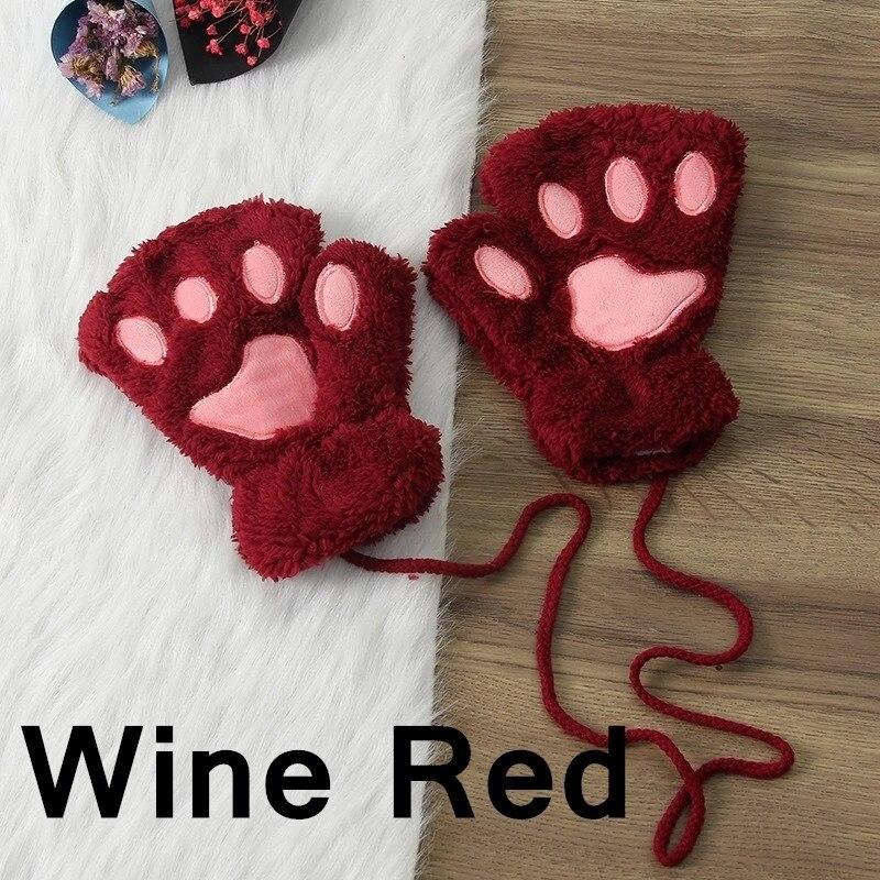 Зимние теплые перчатки женские Красивая кошачья лапа коготь плюшевые варежки короткие перчатки женские зимние перчатки без пальцев - Цвет: 13