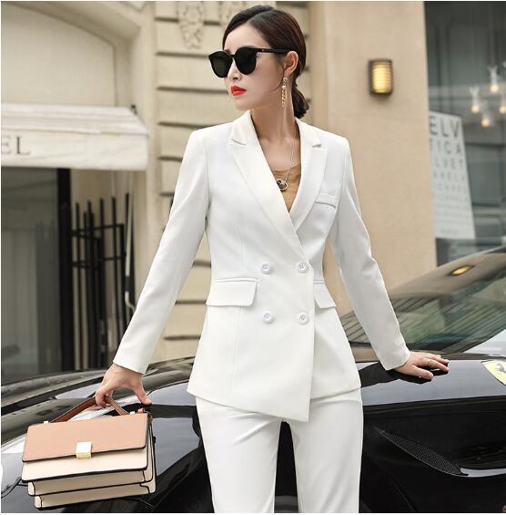 Autumn Women's Suit 2019 New Fashion Two-piece Professional Wear Casual Korean Version Of The Suit Jacket Wide-leg Pants Suit