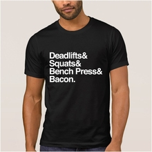Diseño de bonita camiseta para hombre deadlifts squats bench press bacon para hombre Camiseta 2018 Vintage para Hombre Ropa de camiseta hip hop