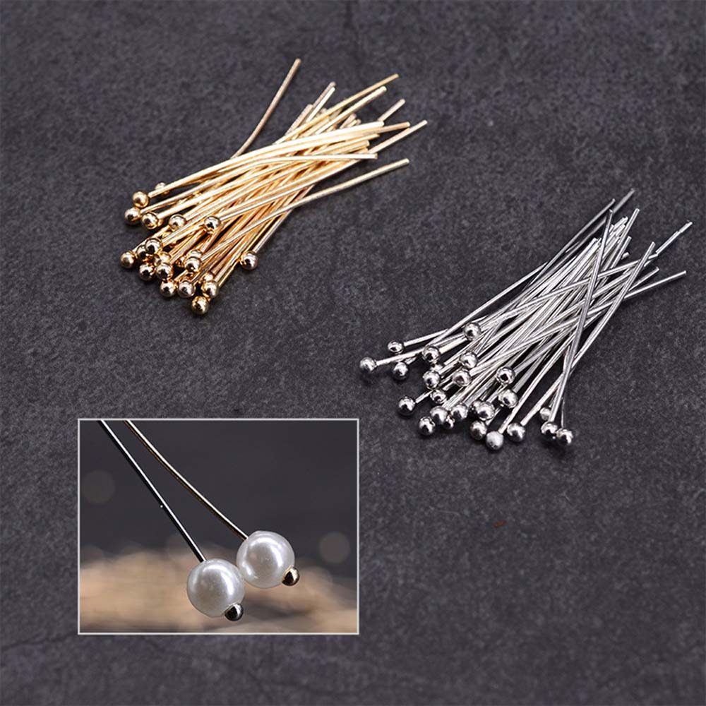 100 Pcs/Lot Copper Head Pins Beads T-pins For DIY Jewelry Making Accessories Beads Pearls Earring Findings Supplies
