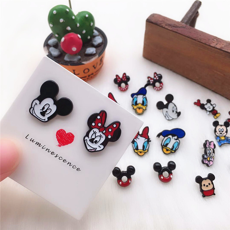 EUPNHY 1Pair Hypoallergenic Enamel Earring Cartoon Mouse Head Stud Earrings for Women title=
