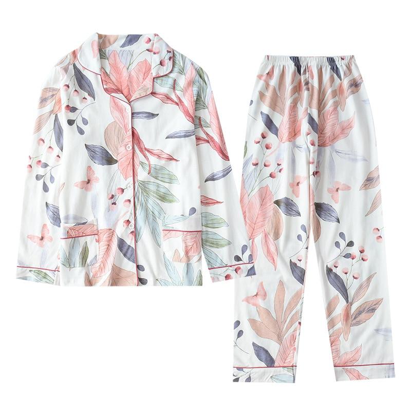 Women Pajamas Autumn 100% Cotton Pyjamas Ladies Casual Homewear Suit Long-sleeved Trousers Sleepwear Winter Print Home Clothes