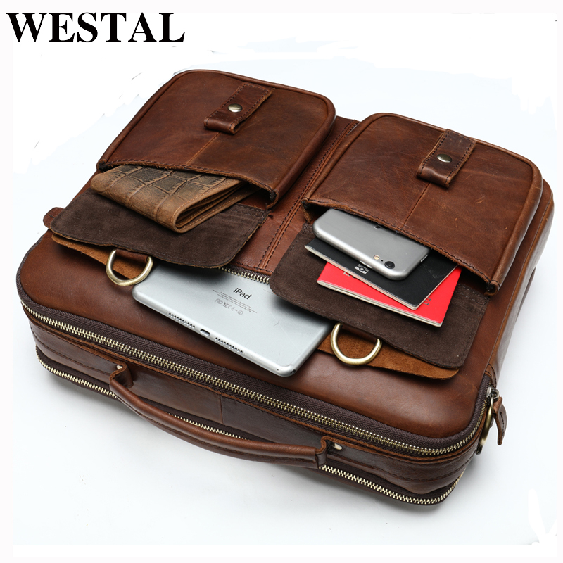 WESTAL Bag Men's Genuine Leather Men's Briefcase Laptop Bag Leather Office Bags For Men's Documents Bussiness Briefcase Handbag