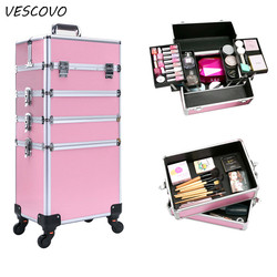 VESCOVO  multi-layer professional trolley cosmetic case portable makeup Women's nail art tattoo beauty travel suitcase on wheel