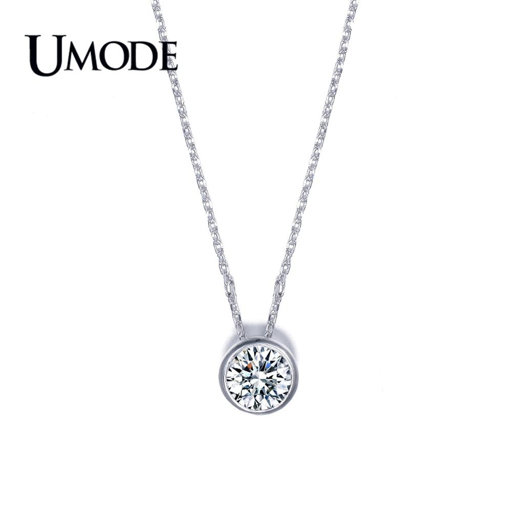 UMODE Brand Fashion Jewelry White Gold Color Necklaces & Pendants For Women Bijoux Femme With 1ct AAA+ CZ Necklace Gifts AUN0034