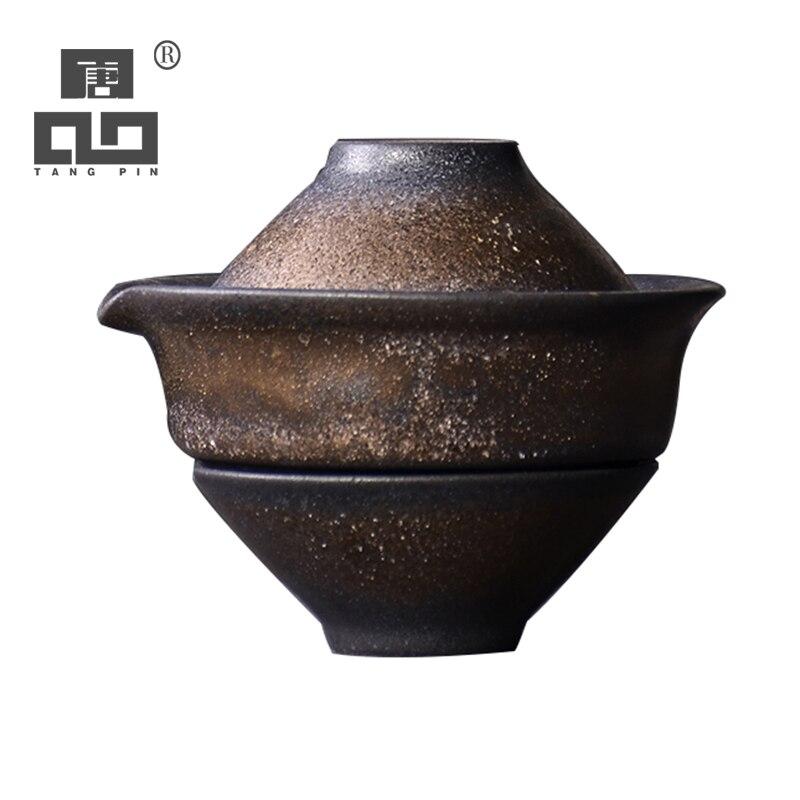 TANGPIN Japan Ceramic Teapots With 2 Teacups A Tea Sets Portable Travel Tea Sets Drinkware