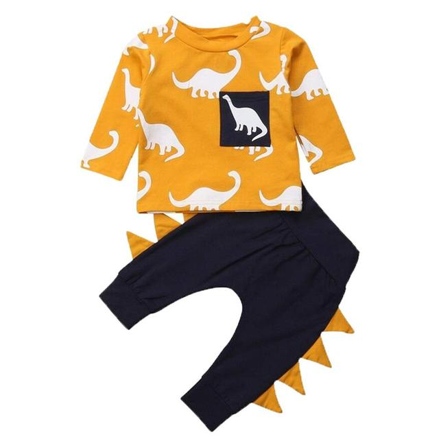 Infant Toddler Baby Boys Kids Casual Soft Lovely Dinosaur Long Sleeve T-shirt Tops + Trousers Pants Outfits Clothes Suit Set 1