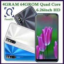 7c 64g rom 4g ram smartphones quad core 13mp hd face id 6.26 Polegada gota de água tela desbloqueado telefones celulares android