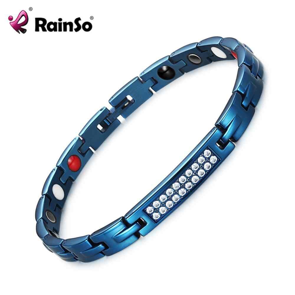 RainSo, pulseras de joyería de cristal de zirconia saludable, pulsera de terapia magnética y brazaletes para mujeres, pulseras de holograma de bioenergía