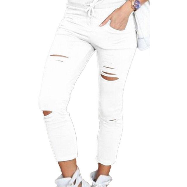 Pantalones pitillo de talla grande con cordón de Color sólido, mallas pitillo rasgadas de cintura alta, pitillos rasgados 2