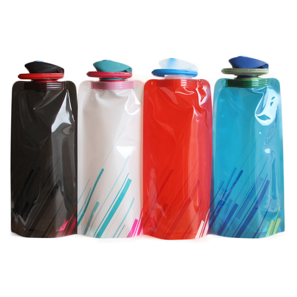 H1c8bfc1678db4e6585b8e22925df8415V 700ml Water Bottle Bags Environmental Protection Collapsible Portable Outdoor Foldable Sports Water Bottles For Hiking Camping
