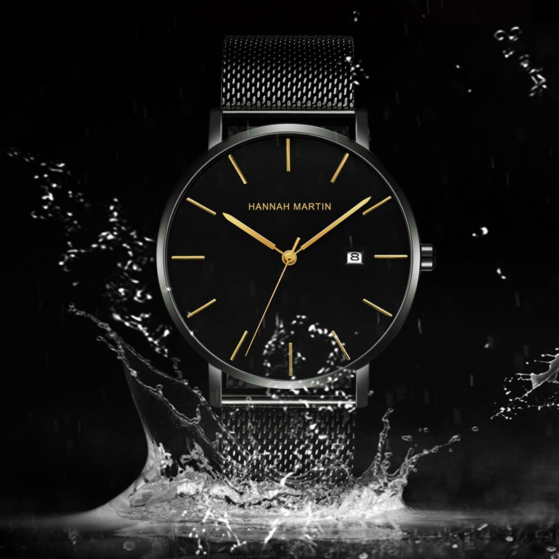 Hannah Martin Milanese Watch Men'S Watches Japan Quartz Movement Stainless Steel Men Clock