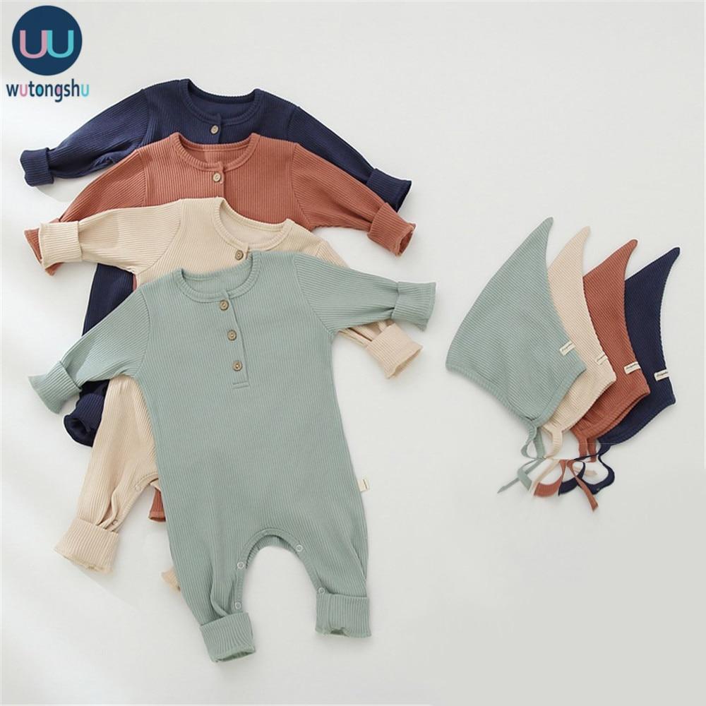 Новорожденных новорожденных мальчиков и девочек Вязаный комбинезон + шляпа сплошной детский комбинезон хлопок с длинным рукавом сплошной Хлопок Одежда для маленьких девочек|Ромперы| | АлиЭкспресс