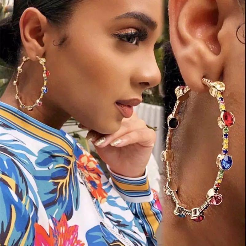 Fashion color large round Rhinestone women's Earrings