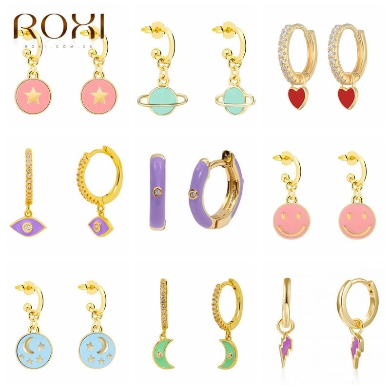 Roxi colorido esmalte brincos para mulheres neon círculo redondo jóias brincos 925 prata esterlina huggie piercing