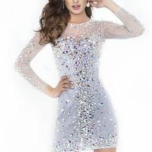 Prom-Gowns Cocktail-Dresses Long-Sleeve Short Crystals Mini Gorgeous White Beads Crew-Neck