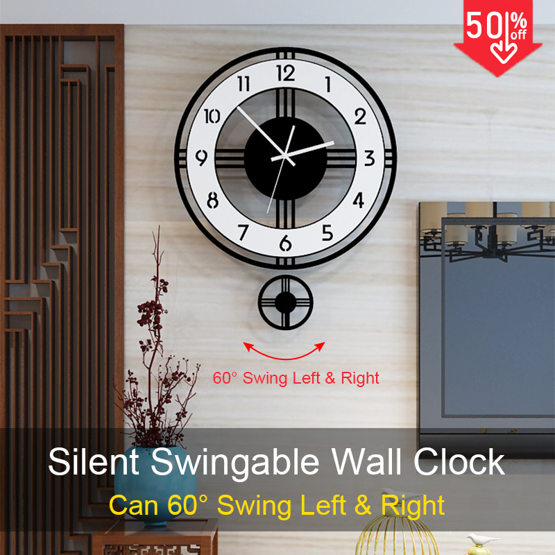 Swingable Silent Large Wall Clock Modern Design Battery Operated Quartz Hanging Clocks Home Decor Kitchen Watch Free Shipping