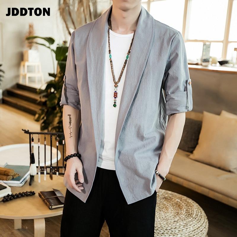 JDDTON Autumn Men Kimono Open Linen Jackets Solid Outerwear Thin Coats Loose Casual Male Long Sleeve Retro Loose Overcoats JE140