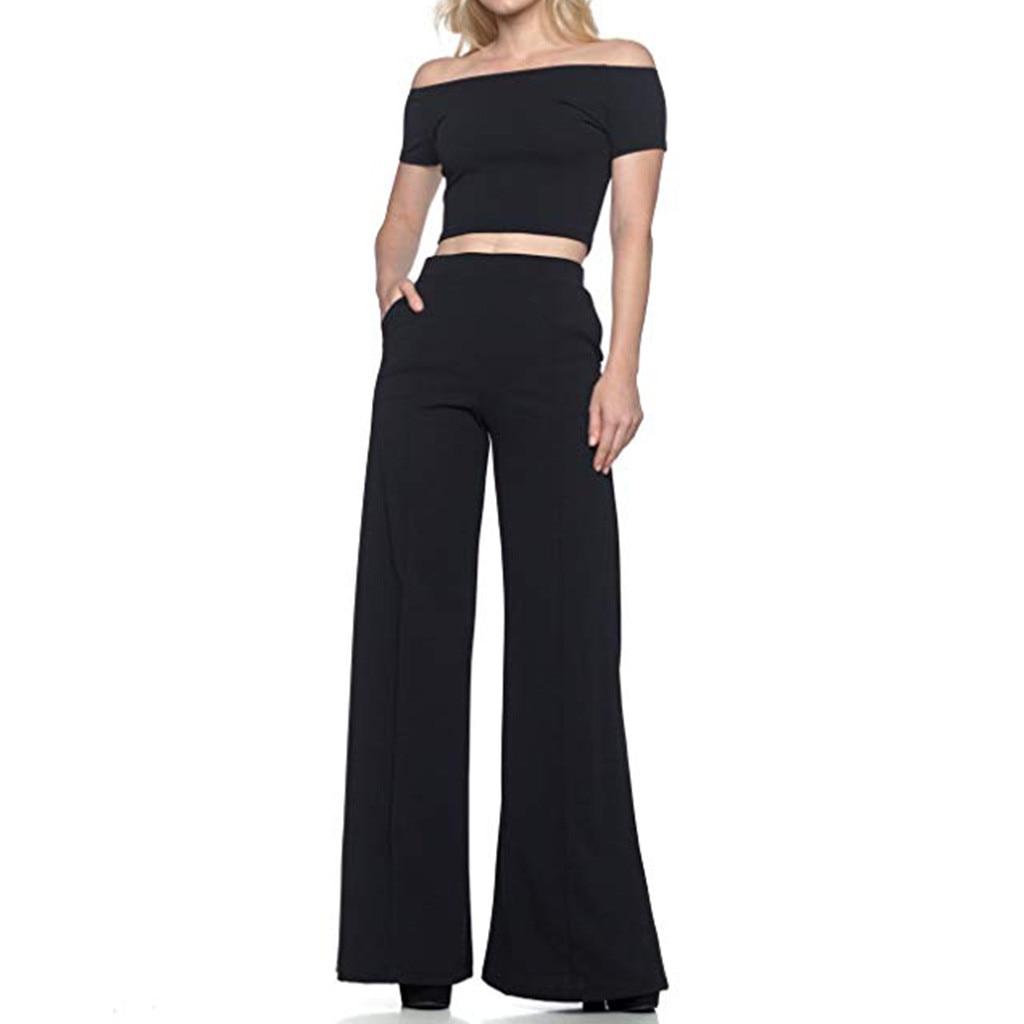 2019 Fashion Women's High Waist Pants Solid Pants Women Loose Wide Long Trousers Flowing Palazzo Pants Pantalones De Mujer