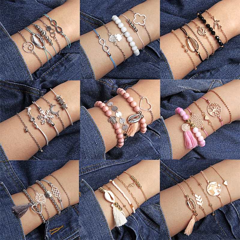 Boho Jewelry Bohemian Beads Chain Bracelet Set Bangles For Women Stone Bracelet Set Map Love Heart Turtle Tassel Party Female