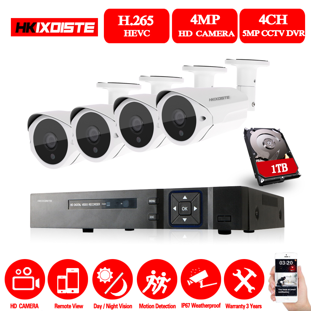 Système de caméra de sécurité 4CH adh H.265 CCTV HD DVR Kit 5MP IR caméra de Vision nocturne extérieure Surveillance vidéo à domicile