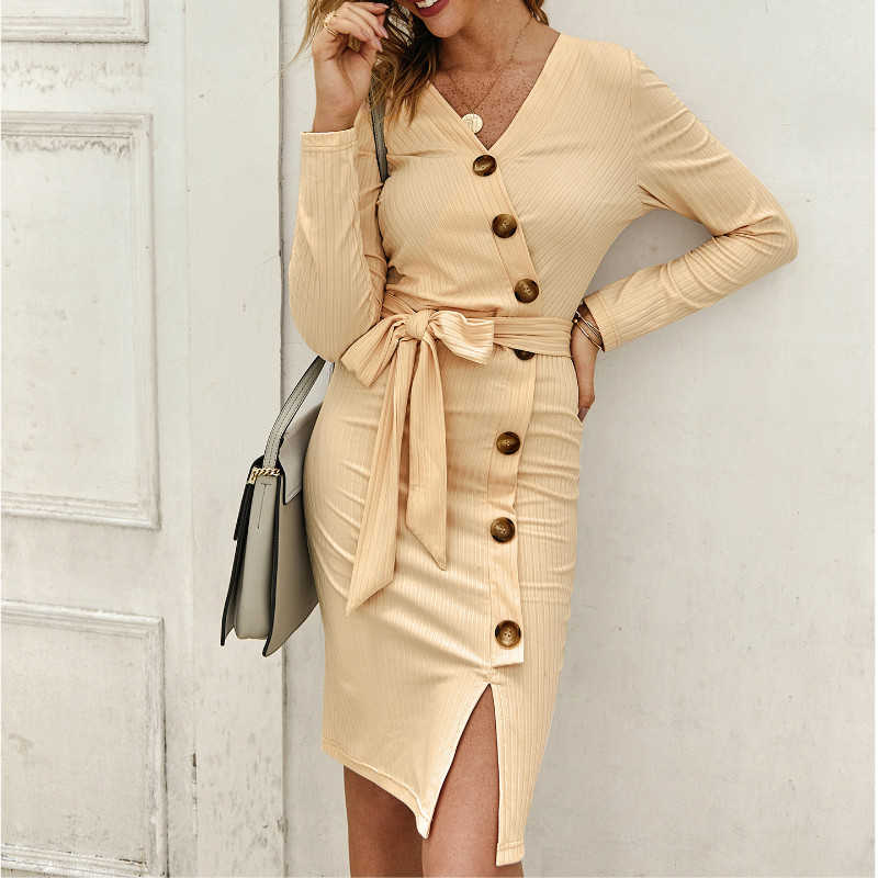 New Fashion Autumn Knitted Bodycon Women Dress Elegant Office Lady V-Neck Long Sleve Solid Color Button Knee-Length Dress