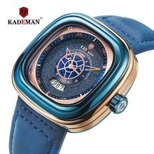 KADEMAN ساعة مربعة جديدة الرجال الساعات الرياضية الفاخرة 2019 تصميم النجوم موضة ساعات المعصم 3TAM الأعمال عادية Relogio Masculino