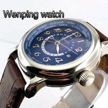 43mm corgeut big pilot GMT blue dial date brown leather Automatic mens mechanical top luxur