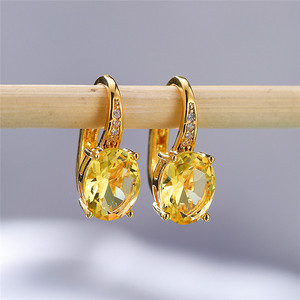 Luxury Female Yellow Gold Zirconia Earrings Korean Dainty Small Clip Earrings For Women Oval Crystal Stone Wedding Earrings