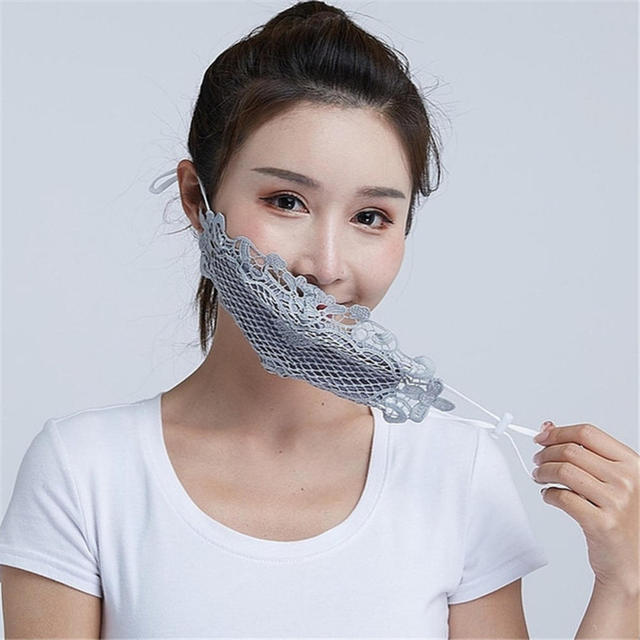 1PC Lace embroidery summer ice silk Korean ladies mask sexy personality breathable sunscreen mask White Black Blue Wholesale 3